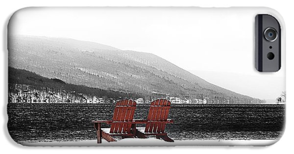Canandaigua Lake iPhone Cases - Chairs at Canandaigua Lake 2011 iPhone Case by Joseph Duba