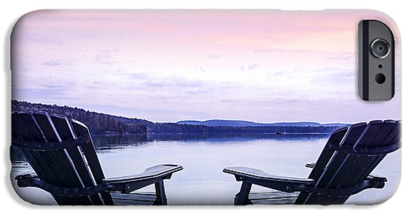 Chairs iPhone Cases - Chairs on lake dock iPhone Case by Elena Elisseeva