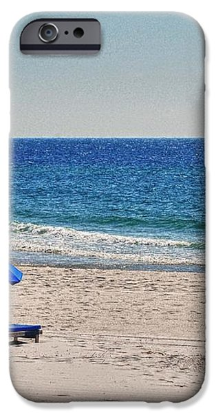 Chairs on the Beach with Umbrella iPhone Case by Michael Thomas