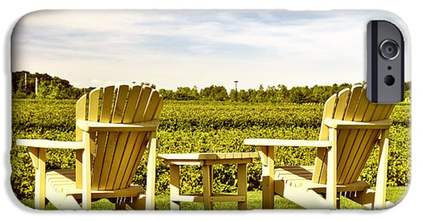 Vineyard Landscape iPhone Cases - Chairs overlooking vineyard iPhone Case by Elena Elisseeva