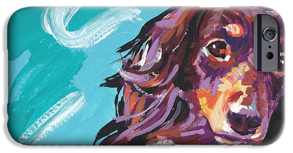 Dachshund Art iPhone Cases - Chaka Dox iPhone Case by Lea