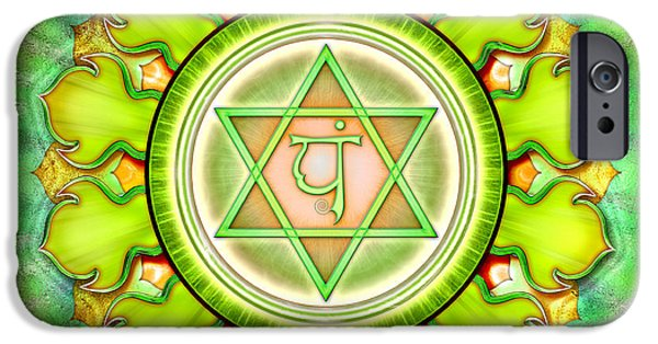 Buddhism Digital iPhone Cases - Chakra Anahata Series 2012 iPhone Case by Dirk Czarnota
