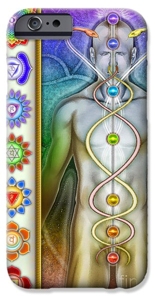 Healing Posters iPhone Cases - Chakra System Series IV iPhone Case by Dirk Czarnota