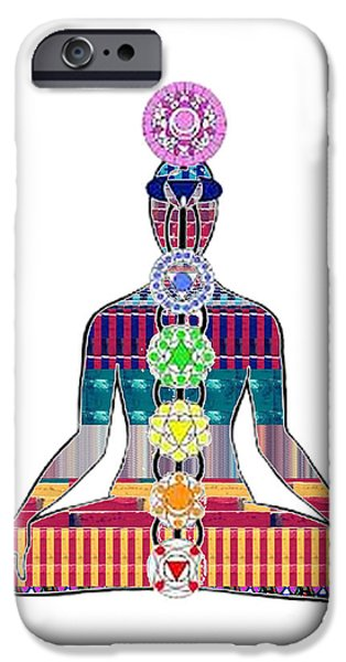 Diy iPhone Cases - Chakra Yoga Mandala  buy FAA print products or down load for self printing Navin Joshi Rights Manage iPhone Case by Navin Joshi