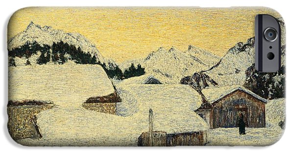 Cold Weather iPhone Cases - Chalets in Snow iPhone Case by Giovanni Segantini