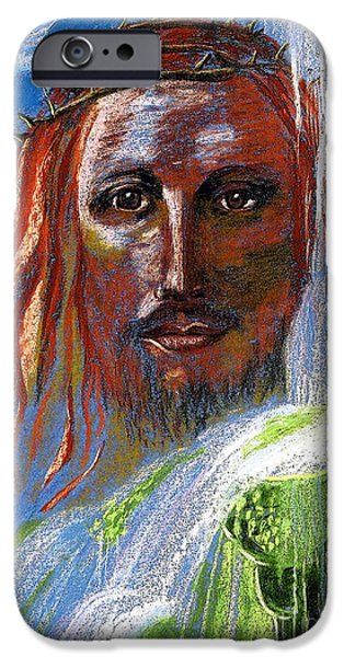 Jesus Face iPhone Cases - Chalice of Life iPhone Case by Jane Small