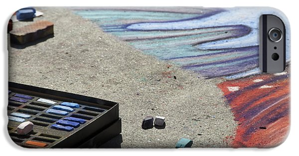 Creativity Photographs iPhone Cases - Chalk Art Supplies on the Street iPhone Case by Juli Scalzi