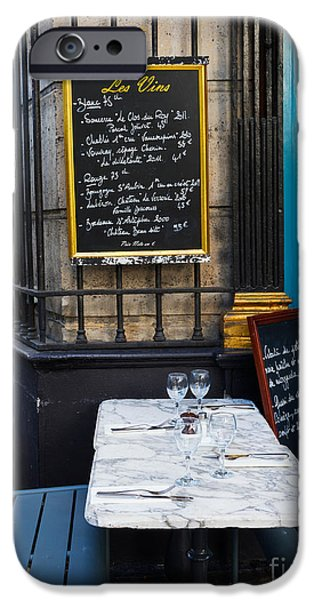 Table Wine iPhone Cases - Chalkboard at an outdoor cafe in Paris iPhone Case by Louise Heusinkveld