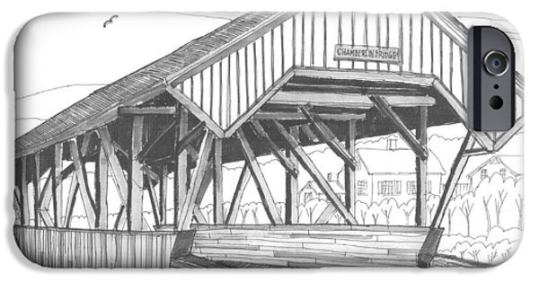 Covered Bridge Drawings iPhone Cases - Chamberin Mill Covered Bridge iPhone Case by Richard Wambach