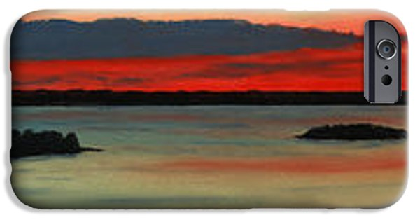 States Pastels iPhone Cases - Chambers Island Sunset II iPhone Case by George Burr