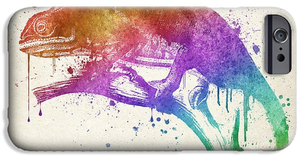 Chameleon iPhone Cases - Chameleon Splash iPhone Case by Aged Pixel
