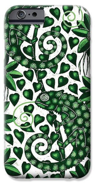 Chameleon iPhone Cases - Chameleons Tall, 2013 Woodcut iPhone Case by Nat Morley