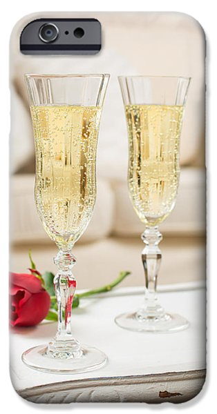Bubbly iPhone Cases - Champagne And Rose iPhone Case by Amanda And Christopher Elwell