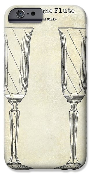 Champagne Glasses Photographs iPhone Cases - Champagne Flute Patent Drawing  iPhone Case by Jon Neidert