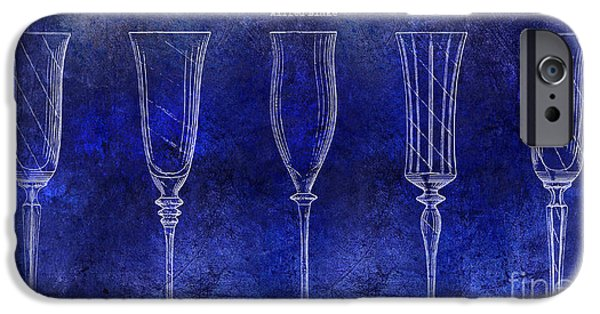 Champagne Glasses Photographs iPhone Cases - Champagne Flutes Design Patent Drawing Blue iPhone Case by Jon Neidert
