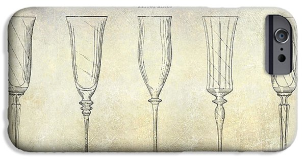 Champagne Glasses Photographs iPhone Cases - Champagne Flutes Design Patent Drawing iPhone Case by Jon Neidert