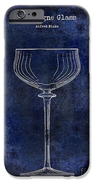 Champagne Glasses Photographs iPhone Cases - Champagne Glass Patent Drawing Blue 2 iPhone Case by Jon Neidert