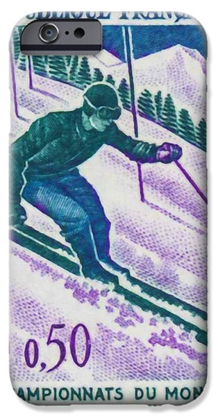 Skiing Posters Paintings iPhone Cases - Championships Chamonix Ski World 1962 iPhone Case by Lanjee Chee
