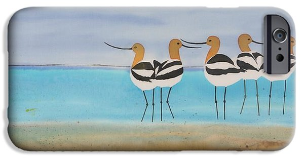 Birds Tapestries - Textiles iPhone Cases - Chance encounter at the beach iPhone Case by Carolyn Doe