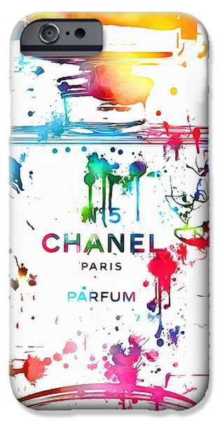 Painted Mixed Media iPhone Cases - Chanel Number Five Paint Splatter iPhone Case by Dan Sproul