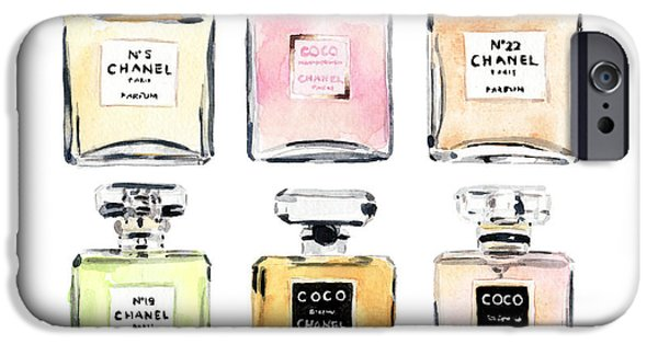 Dressing Room Paintings iPhone Cases - Chanel Perfumes iPhone Case by Laura Row Studio