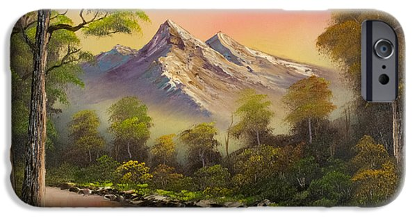 Bob Ross Paintings iPhone Cases - Summer Evening iPhone Case by C Steele