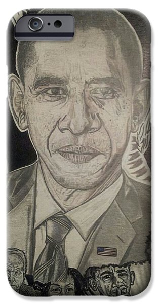 Recently Sold -  - Michelle Obama Drawings iPhone Cases - Change YES WE CAN iPhone Case by Demetrius Washington
