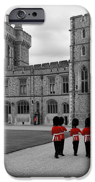 Irish Photographs iPhone Cases - Changing of the Guard at Windsor Castle iPhone Case by Lisa Knechtel
