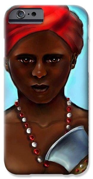 Santeria iPhone Cases - Chango- The Warrior 2 iPhone Case by Carmen Cordova