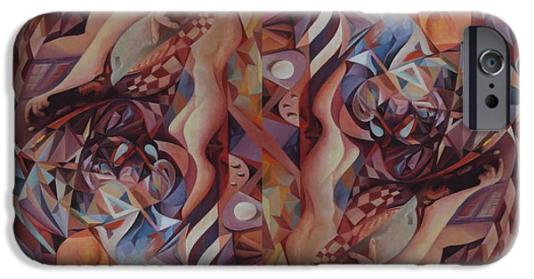 Serpent iPhone Cases - CHAOS MANAGEMENT 2 or ADOLF AND EVA iPhone Case by Mikhail Savchenko