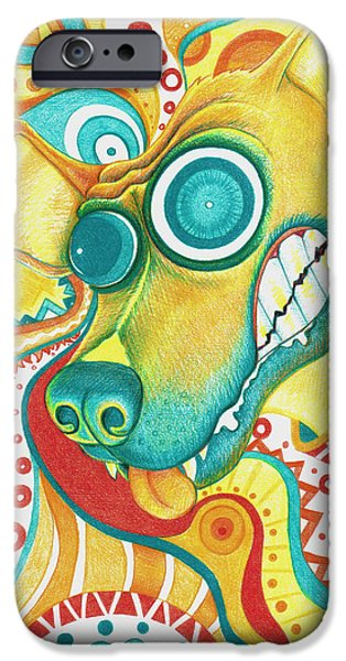 Vibrant Colors Drawings iPhone Cases - Chaotic Canine iPhone Case by Shawna  Rowe