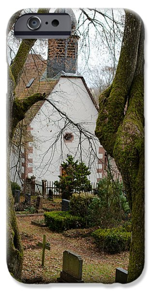 Cemetary iPhone Cases - Chapel and Cemetary iPhone Case by Frank Gaertner