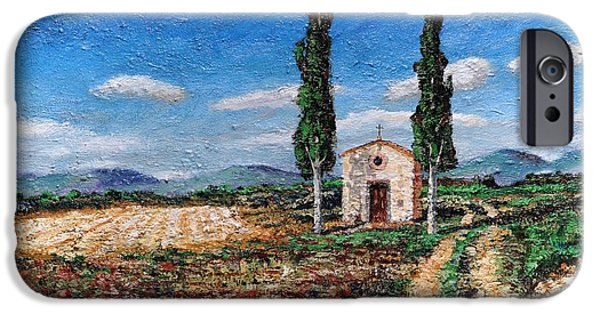 Italian Landscape iPhone Cases - Chapel And Two Trees, Tuscany, 2005 Oil On Board iPhone Case by Trevor Neal