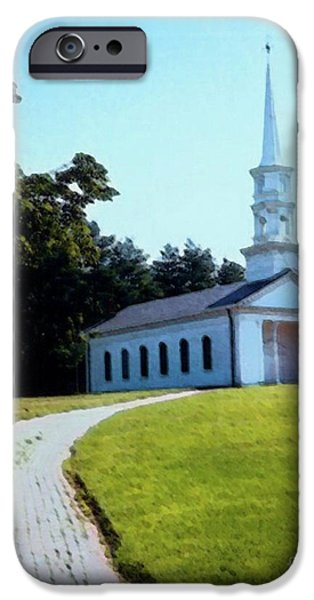 Sudbury Ma Mixed Media iPhone Cases - Chapel at the Wayside Inn iPhone Case by Desiree Paquette