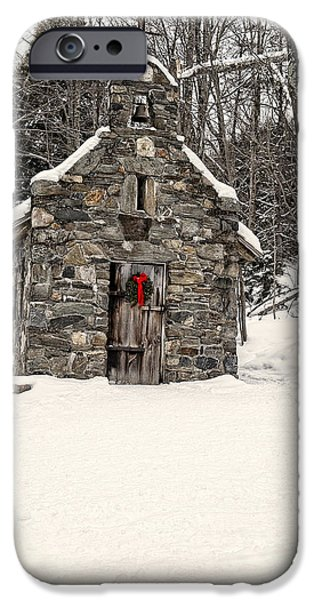 Skiing iPhone Cases - Chapel in the Woods Stowe Vermont iPhone Case by Edward Fielding