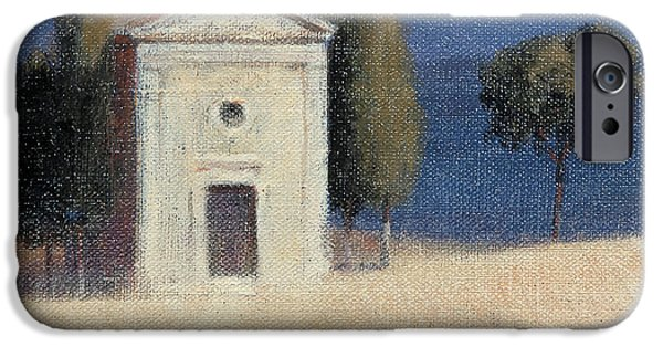 Sienna iPhone Cases - Chapel Near Pienza Ii, 2012 Acrylic On Canvas iPhone Case by Lincoln Seligman