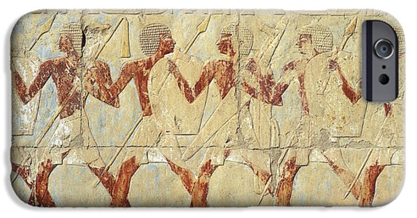 Hathor iPhone Cases - Chapel of Hathor Hatshepsut Nubian Procession Soldiers - Digital Image -Fine Art Print-Ancient Egypt iPhone Case by Urft Valley Art