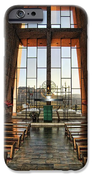 Sedona iPhone Cases - Chapel of the Holy Cross Interior iPhone Case by Jon Berghoff
