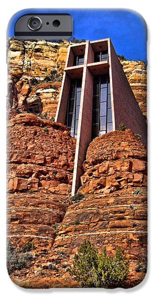 Sedona iPhone Cases - Chapel of the Holy Cross  Sedona Arizona iPhone Case by Jon Berghoff