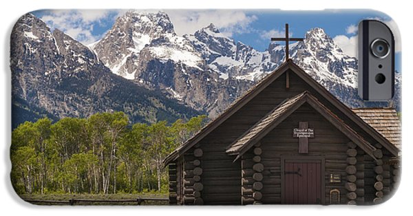 Log Cabin Photographs iPhone Cases - Chapel Of The Transfiguration - Grand Teton National Park Wyoming iPhone Case by Brian Harig