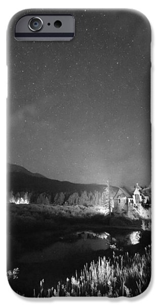 Chapel On The Rock iPhone Cases - Chapel On the Rock Stary Night Portrait BW iPhone Case by James BO  Insogna