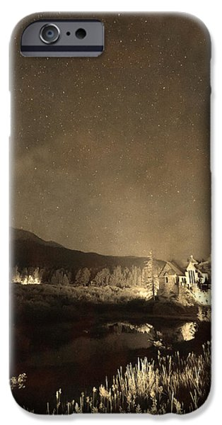 Chapel On The Rock iPhone Cases - Chapel On the Rock Stary Night Portrait Monotone iPhone Case by James BO  Insogna