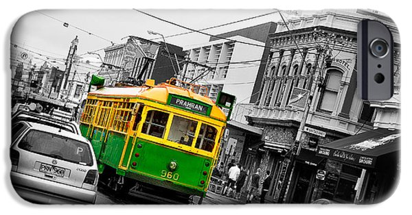 People iPhone Cases - Chapel St Tram iPhone Case by Az Jackson
