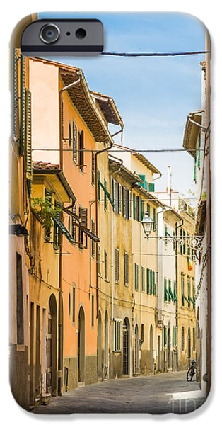 Tuscan Road iPhone Cases - Characterful old narrow italian street Pistoia Italy iPhone Case by Peter Noyce