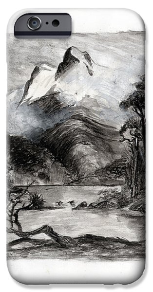 Snow-covered Landscape Drawings iPhone Cases - Charcoal hills iPhone Case by Gee Lyon