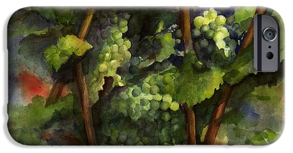 Business Paintings iPhone Cases - Chardonnay dans lombre iPhone Case by Maria Hunt