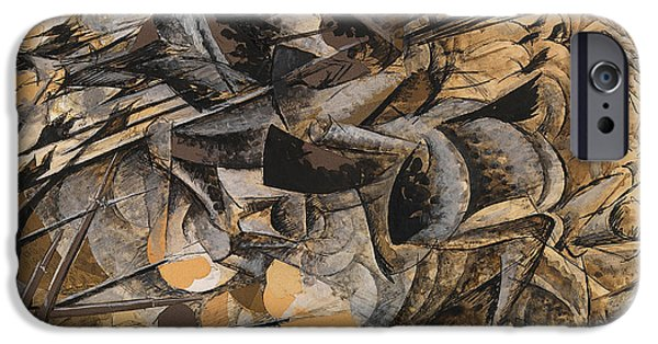 Bayonet iPhone Cases - Charge Lancers iPhone Case by Umberto Boccioni