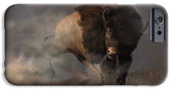 Bison Art iPhone Cases - Charging Bison iPhone Case by Daniel Eskridge