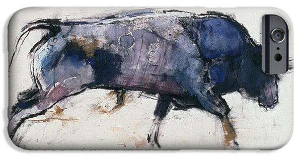 Bulls Mixed Media iPhone Cases - Charging Bull iPhone Case by Mark Adlington
