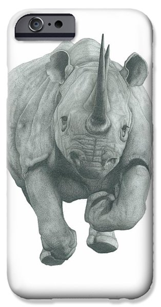 Rhinocerus iPhone Cases - Charging Rhino iPhone Case by Rich Colvin